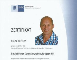 IHK Zertifikat DSB Franz Tertsch